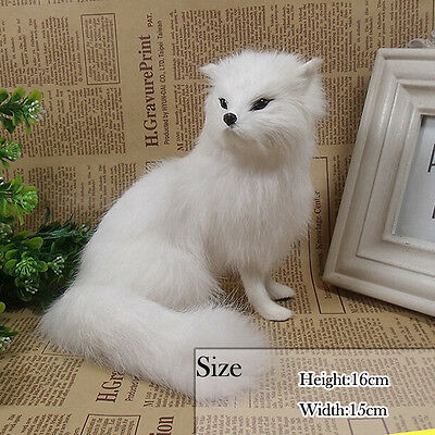 Replica Artificial White Fox in Fur With Hand Made Artware Home Party Decoration