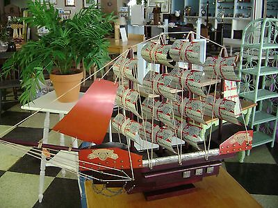 "Collectable ""Budwieser"" Clipper Ship,  Model Sail Boat Nautical Folk Art Decor"