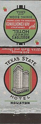 Vintage Hotel Matchbook Cover. Texas State Hotel. Houston, Tx.