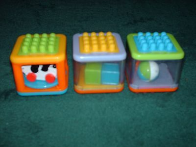 Set Of 3 Fisher-Price Connect Bristle Blocks- Bear, Dog, Blocks