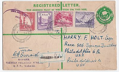 Pakistan to US 1955 Uprated registered Stationery Cover