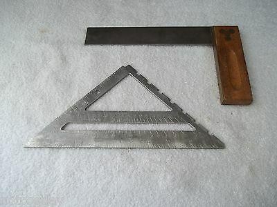 "Craftsman 9-39594 8"" Square & 39599 Aluminum Rafter Square Made in USA"
