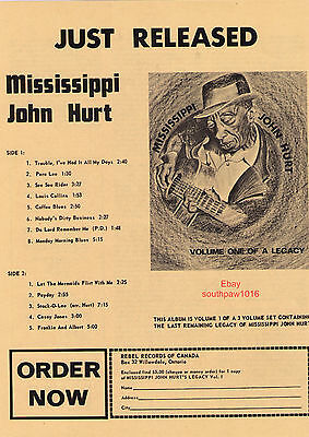 "Mississippi John Hurt ""Volume One Of A Legacy"" 1975 Record Album Print Advert."
