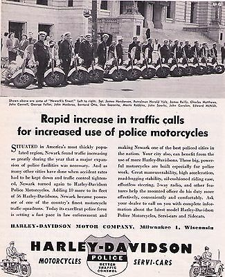 "1950 Vintage Harley Davidson 'Newark, New Jersey""  Police Motorcycle Print Ad"