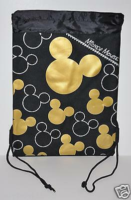 Mickey Mouse Backpack Drawstring String Backpack Sling Tote Bag Nwt Disney Gold