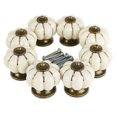 8x White Pumpkin Ceramic Cabinet Drawer Door Pull Knobs Handleswith screws