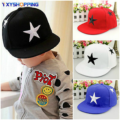 Kids Boys Girls Adjustable Star Pattern Baseball Cap Snapback Hip-hop School Hat