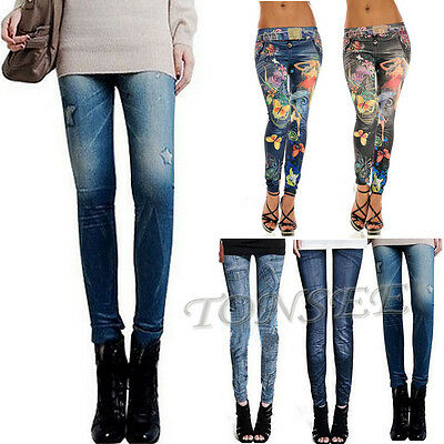 Sexy Womens Lady Leggings Jeans Jeggings Stretch Skinny Pants Denim Trousers