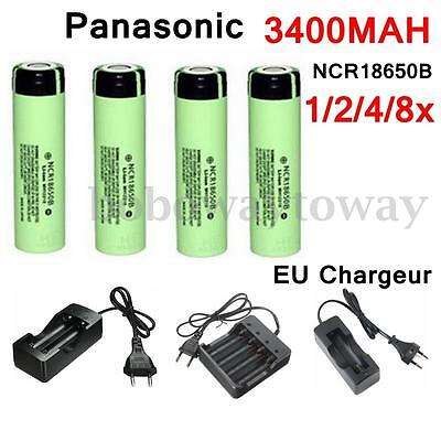 3.7V  Panasonic NCR18650B 18650 3400mAh Rechargeable Batterie + EU Smart Charger