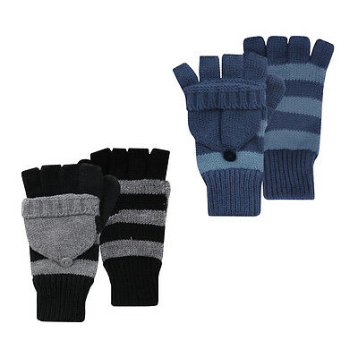 Street Essentials Boys Striped Mitten Cap Gloves