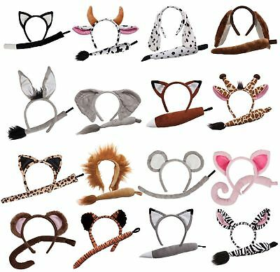 Child Animal Set With Ears And Tail Fancy Dress Costume Accessory