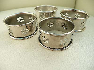 4 x Silver Plated Napkin Rings with cut out designs