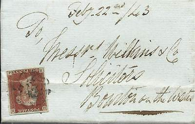 GB 1843 1d Red 4 Margins Legal Entire with Black MX from Morton in Marsh