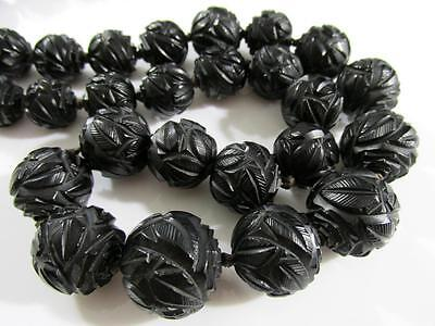Fabulous Antique Victorian Deeply Carved Whitby Jet Beads Mourning Long Necklace