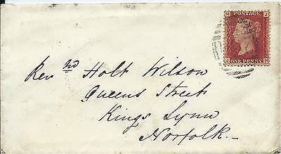 GB 1867 Xmas Day 1d Red Pl.74 Cover from Botesdale via Diss to Lynn