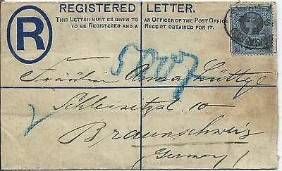 GB 1892 2d Reg'd Letter Uprated 2.1/2d from London to Braunschweig Germany