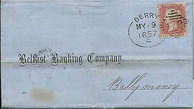 Ireland 1857 1d Red  Stars Banking Entire with Derry 172 Spoon to Ballymoney