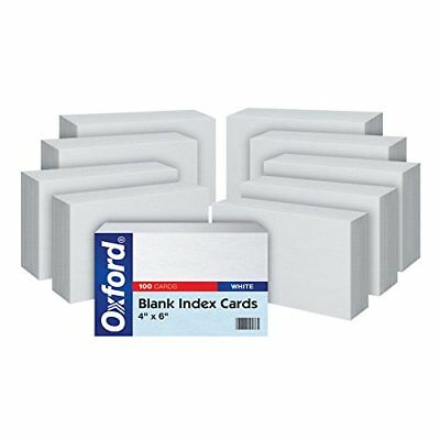 "Oxford Blank Index Cards, 4"" x 6"", White, 10 Packs of 100 (40EE) New"