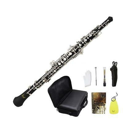 Oboe Professional Cupronickel Plated Silver for Beginner with Strap Case Q8I7