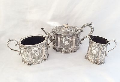 Antique Victorian Sheffield Chased Silver Plated Teaset Atkin Brothers C.1880