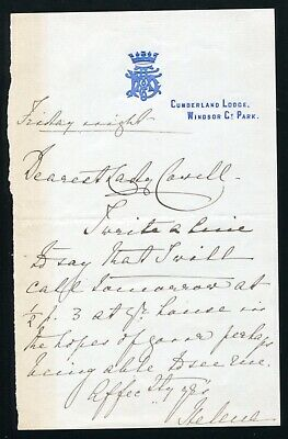 Letter Princess Helena Of Schleswig-Holstein To Lady Cowell Cumberland Lodge