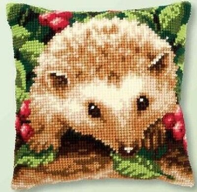 "Vervaco HEDGEHOG WITH BERRIES Cushion Front Chunky Cross Stitch Kit 16"" x 16"""