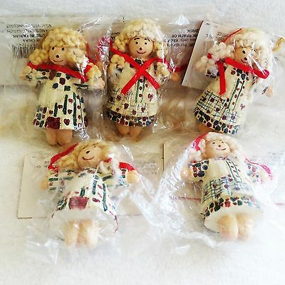Lot of 5 Traditions Resin Doll Curly Hair Christmas Ornaments