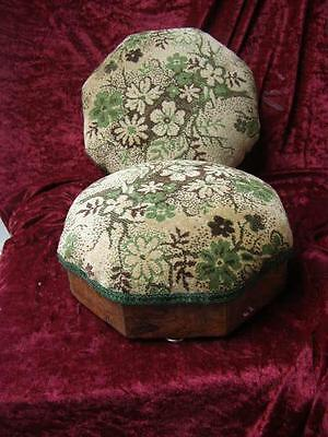 Pair Antique Victorian Upholstered Mahogany Foot Stools Foot Rest Furniture