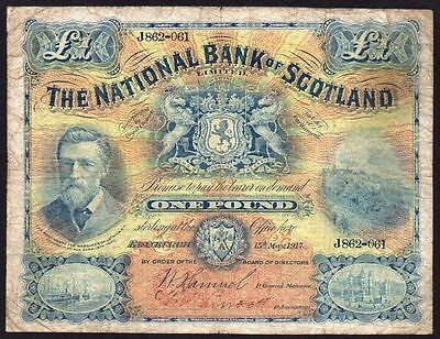 1917 National Bank Of Scotland Limited £1 Banknote * J 862-061 * F *