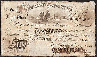 1840 NEWCASTLE UPON TYNE £5 BANKNOTE * 6610 * VG * Outing 1515b *