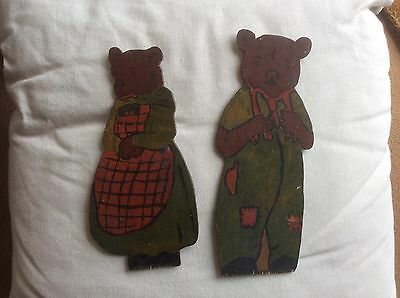 Vintage Wooden Bears Mummy Bear & Daddy Bear Handmade Handpainted 2D