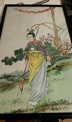 old chinese painted silk panel 21x 12inch c1900
