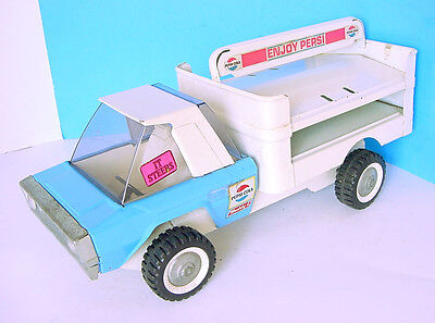 """1960s BUDDY L PRESSED STEEL 15"""" PEPSI-COLA BLUE/WHITE STEERABLE DELIVERY TRUCK"""
