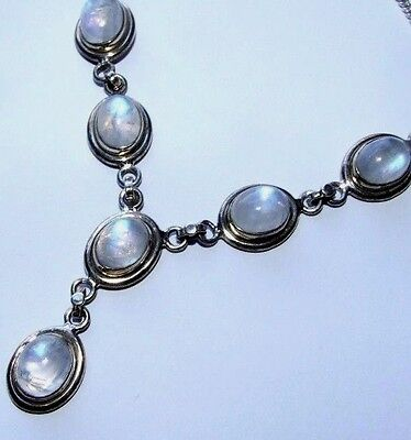 Vintage Sterling Silver Necklace With Natural Blue Rainbow Moonstones.
