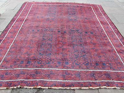 Old Hand Made Traditional Persian Oriental Wool Dark Red Large Carpet 318x290cm