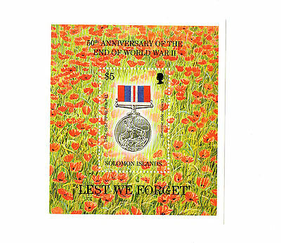 "1995 Solomon Islands Stamp  Souvenir Sheet ""Lest We Forget"" MNH"