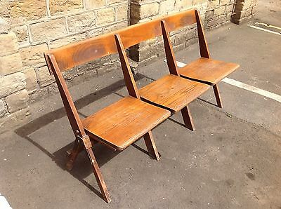 Vintage Retro Wooden Folding School Church Pew Settle Garden Triple Chair Seats