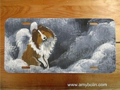 Sheltie Sable  Dog  aluminum LICENSE PLATE by Amy Bolin Dog Barks & Angel  wings