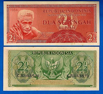 Indonesia P-75 2 1/2 Rupiah Year 1960 a/Uncirculated Banknote FREE SHIPPING