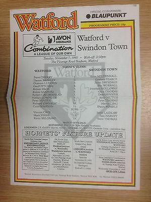 95/96 Watford Res v Swindon Town Res - Football Combination