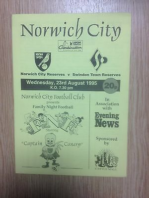 95/96 Norwich City Res v Swindon Town Res - Football Combination