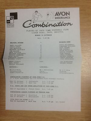 95/96 Bristol Rovers Res v Swindon Town Res - Football Combination @ Yate Town