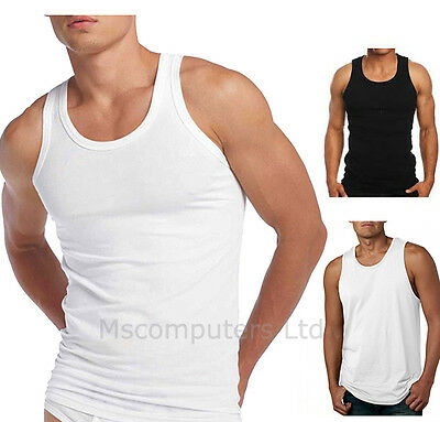 4 or 6 Pack Of Mens Fitted Vests White And Black 100% Cotton Tank Top Training