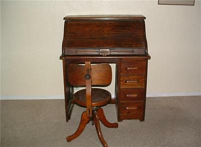 Antique Roll Top Desk And Chair Solid Wood Oak Perfect Size For Your Office