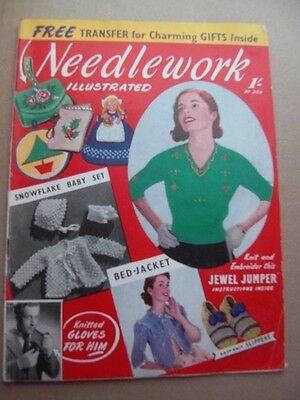 NEEDLEWORK ILLUSTRATED with Free Transfer -1950's Vintage Knitting Fashion craft