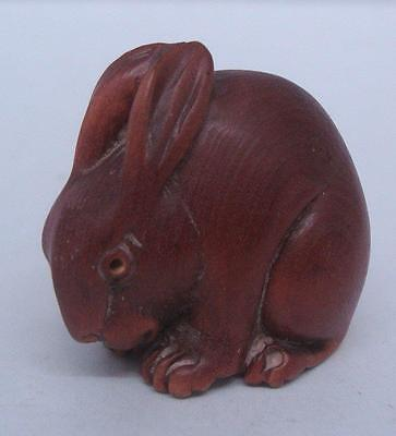 Hand Carved Box Wood Solid Wood Carving - Rabbit (Netsuke without holes)
