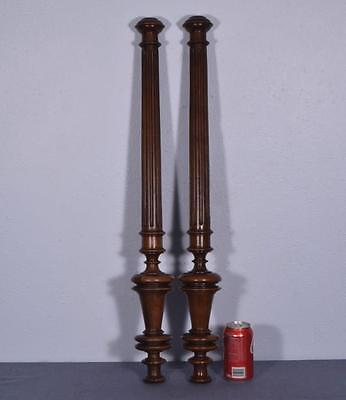 """*31"""" Pair of French Antique Walnut Posts Pillars Architectural Columns Balusters"""