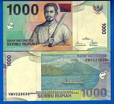 Indonesia P-141b 1000 Rupiah 2000/2001 Uncirculated Banknote Free Shipping