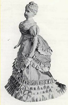 """16-17""""antique French Fashion Lady Doll@1870 Bustle Ball Gown/dress Pattern"""