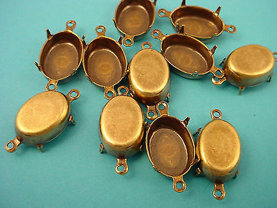 12 Brass Ox Oval Prong Settings 14x10 2 Rings Closed Backs  connectors